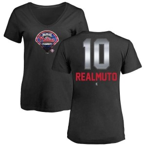 J.T. Realmuto Philadelphia Phillies Women's Black Midnight Mascot V-Neck T-Shirt -