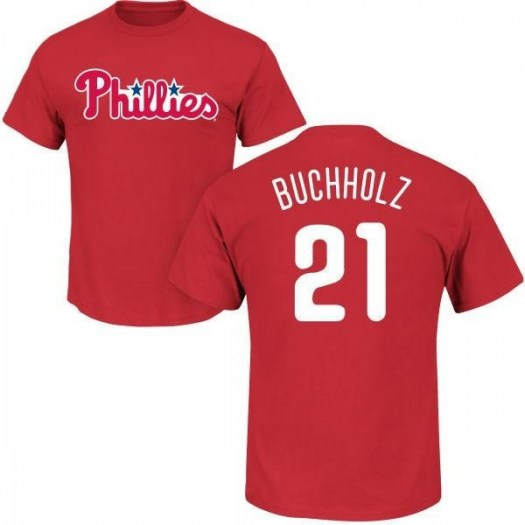 Clay Buchholz Philadelphia Phillies Youth Red Roster Name & Number T-Shirt -